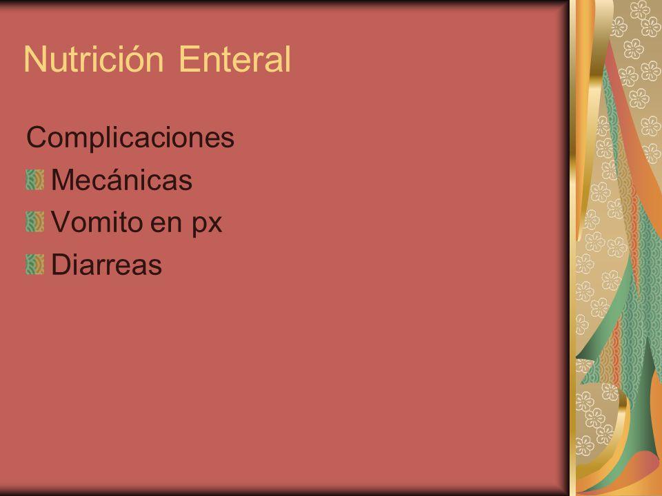 Complicaciones Mecánicas Vomito en px Diarreas Nutrición Enteral