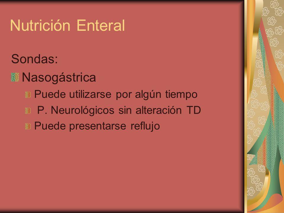 Sondas: Nasogástrica Puede utilizarse por algún tiempo P.