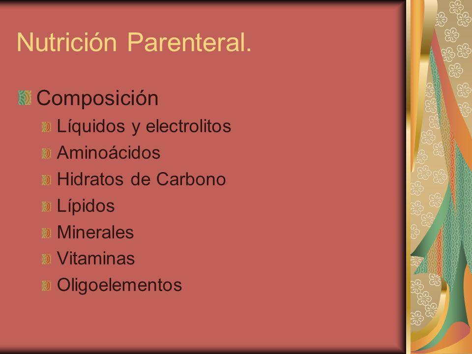 Composición Líquidos y electrolitos Aminoácidos Hidratos de Carbono Lípidos Minerales Vitaminas Oligoelementos Nutrición Parenteral.