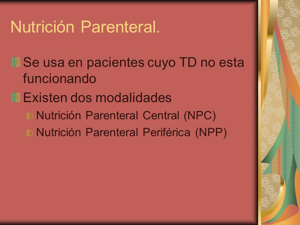 Se usa en pacientes cuyo TD no esta funcionando Existen dos modalidades Nutrición Parenteral Central (NPC) Nutrición Parenteral Periférica (NPP) Nutrición Parenteral.