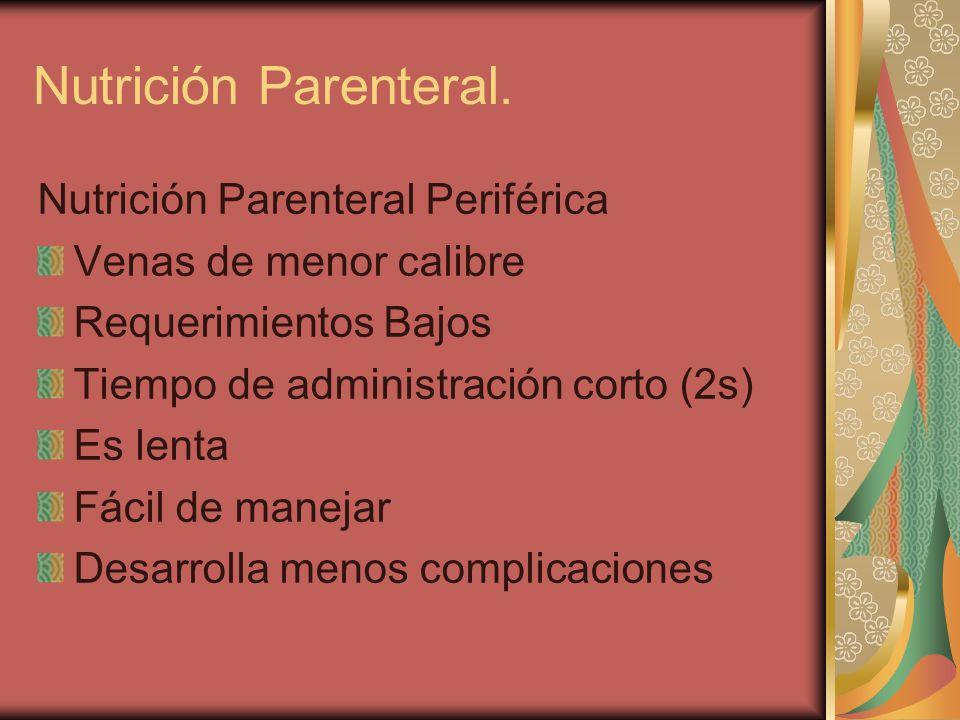 Nutrición Parenteral Periférica Venas de menor calibre Requerimientos Bajos Tiempo de administración corto (2s) Es lenta Fácil de manejar Desarrolla menos complicaciones Nutrición Parenteral.