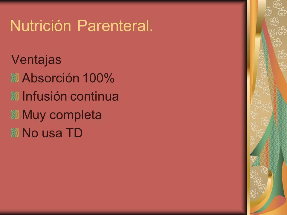 Ventajas Absorción 100% Infusión continua Muy completa No usa TD Nutrición Parenteral.