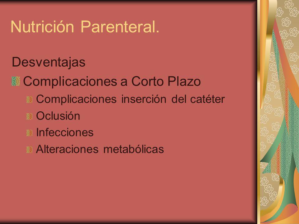 Desventajas Complicaciones a Corto Plazo Complicaciones inserción del catéter Oclusión Infecciones Alteraciones metabólicas Nutrición Parenteral.