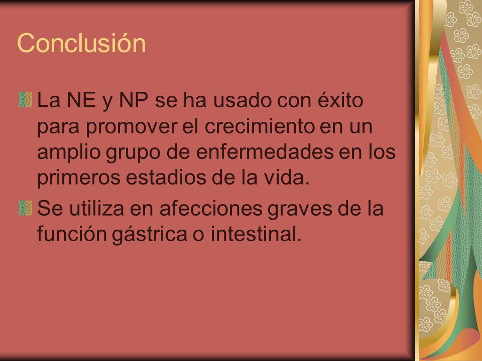 Conclusión La NE y NP se ha usado con éxito para promover el crecimiento en un amplio grupo de enfermedades en los primeros estadios de la vida.