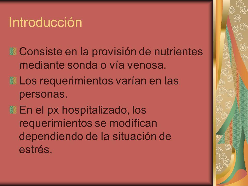 Introducción Consiste en la provisión de nutrientes mediante sonda o vía venosa.