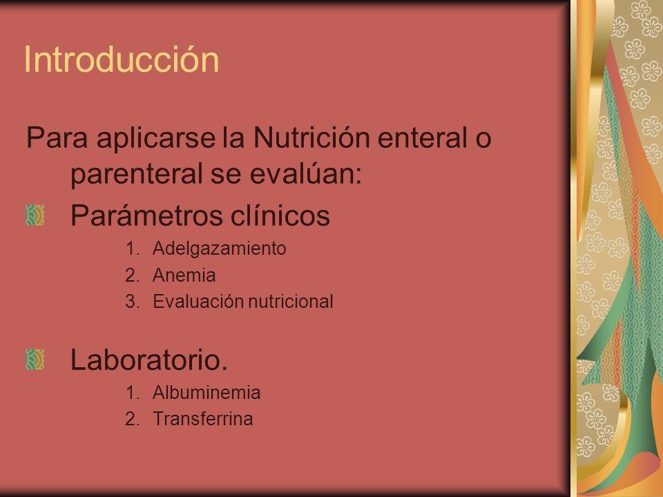Introducción Para aplicarse la Nutrición enteral o parenteral se evalúan: Parámetros clínicos 1.Adelgazamiento 2.Anemia 3.Evaluación nutricional Laboratorio.