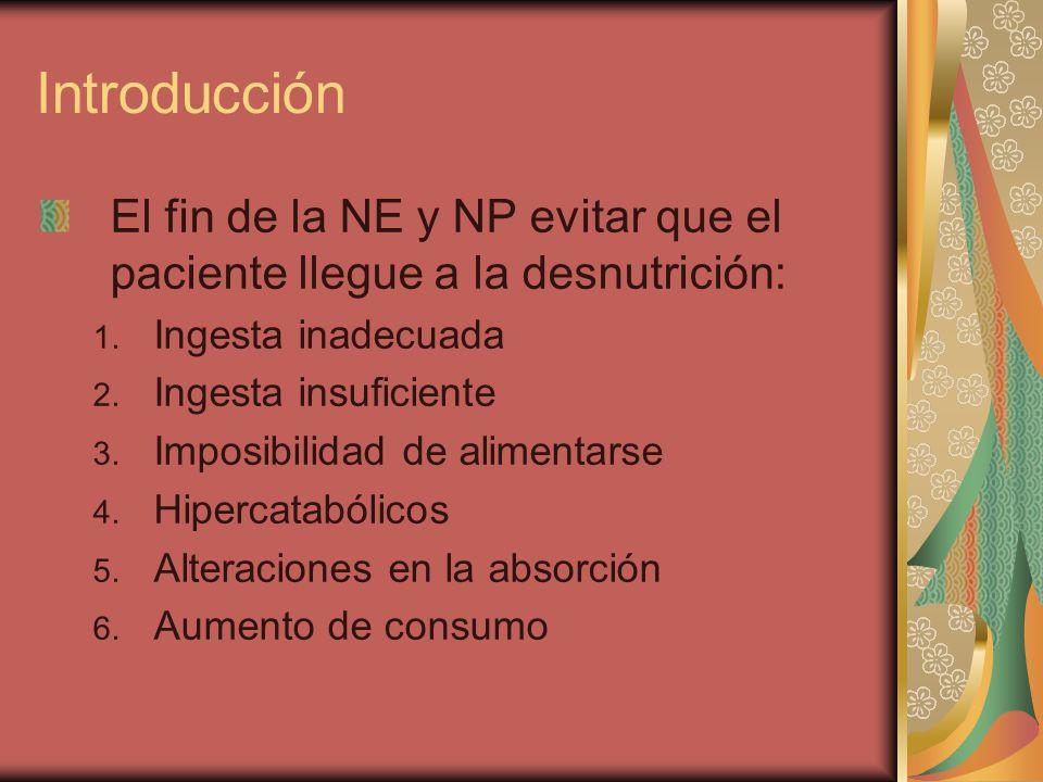Introducción El fin de la NE y NP evitar que el paciente llegue a la desnutrición: 1.