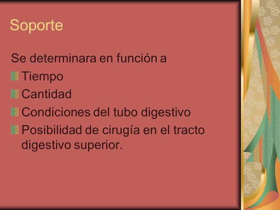 Soporte Se determinara en función a Tiempo Cantidad Condiciones del tubo digestivo Posibilidad de cirugía en el tracto digestivo superior.