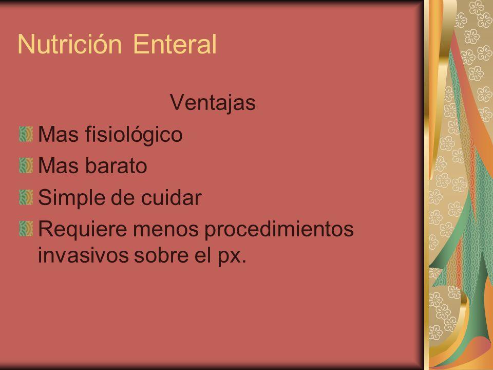 Ventajas Mas fisiológico Mas barato Simple de cuidar Requiere menos procedimientos invasivos sobre el px.