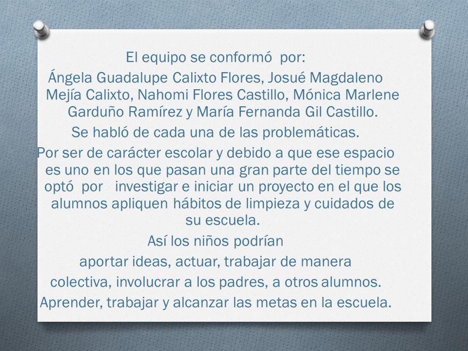 El equipo se conformó por: Ángela Guadalupe Calixto Flores, Josué Magdaleno Mejía Calixto, Nahomi Flores Castillo, Mónica Marlene Garduño Ramírez y Ma
