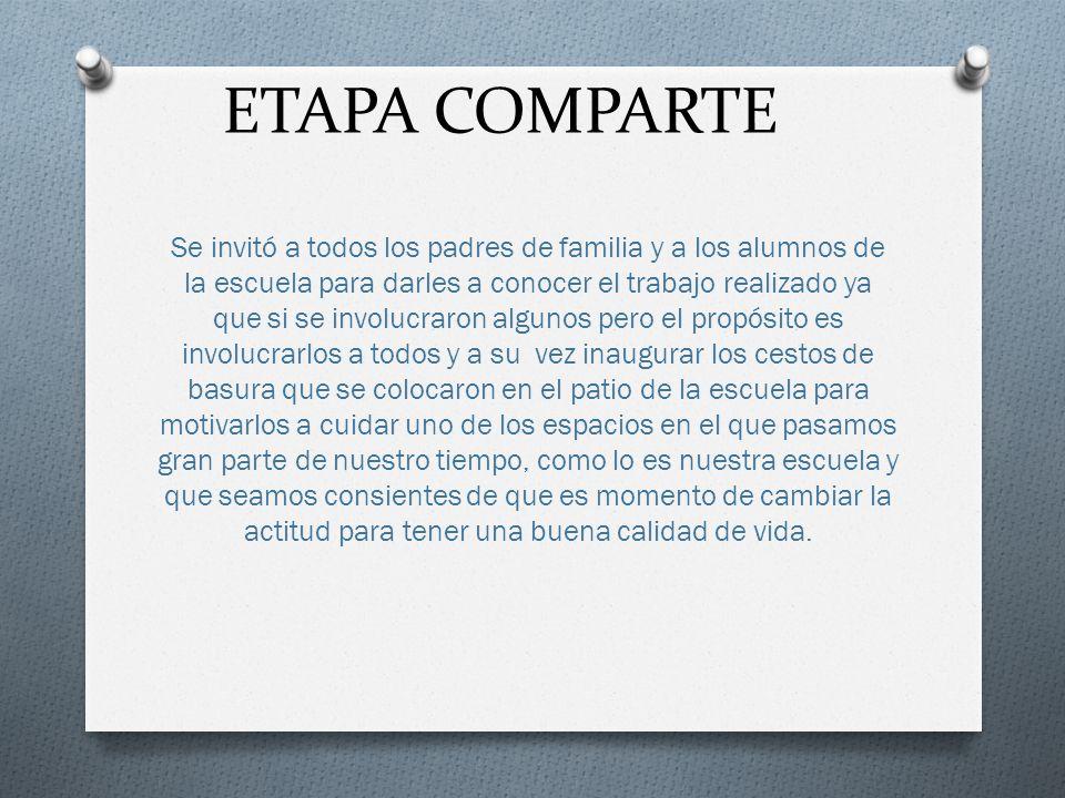 ETAPA COMPARTE Se invitó a todos los padres de familia y a los alumnos de la escuela para darles a conocer el trabajo realizado ya que si se involucra
