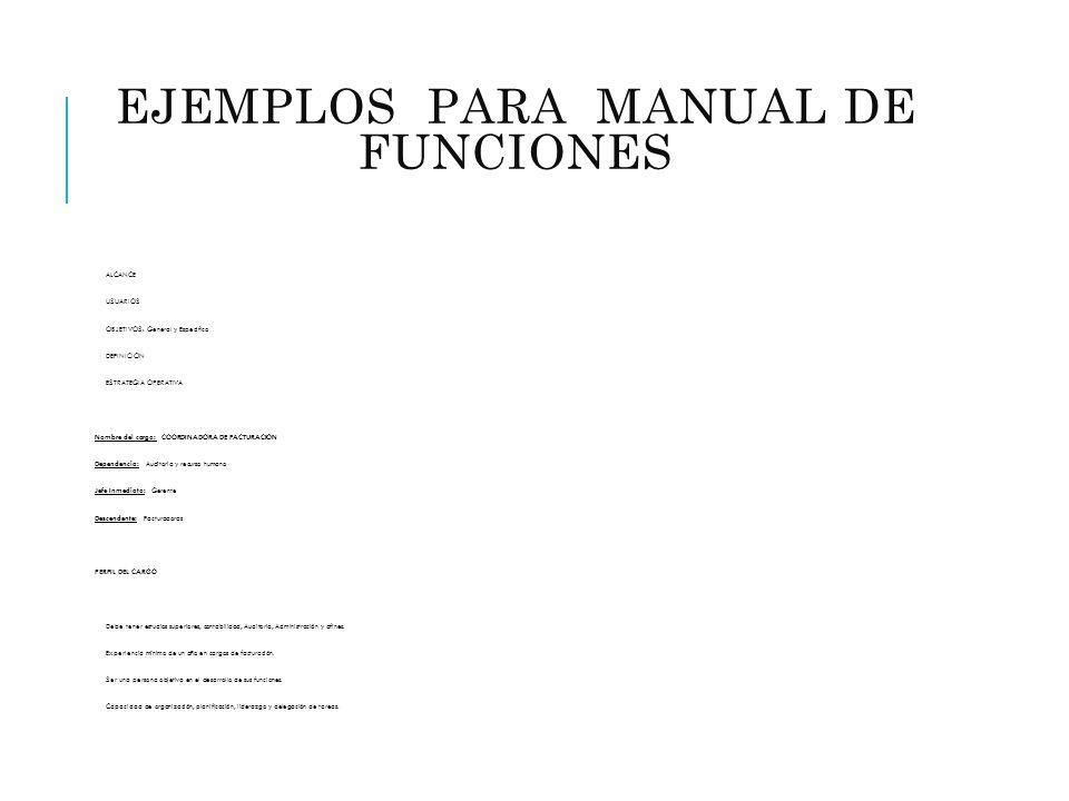 EJEMPLOS PARA MANUAL DE FUNCIONES (ADMINISTRATIVO) ALCANCE USUARIOS OBJETIVOS: General y Especifico DEFINICIÓN ESTRATEGIA OPERATIVA Nombre del cargo: