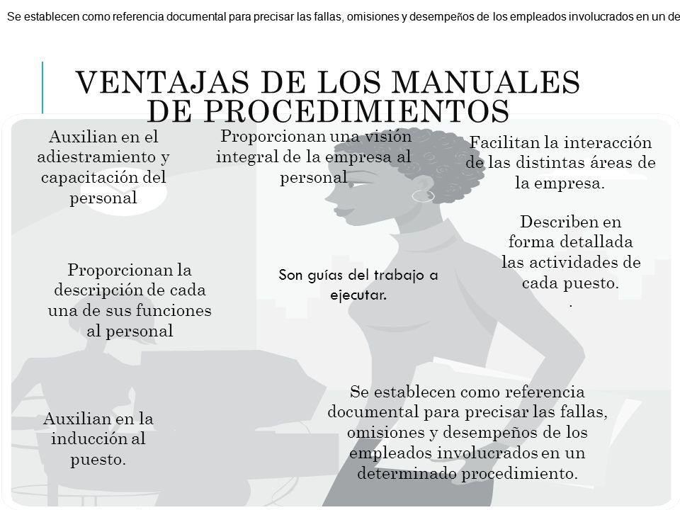 VENTAJAS DE LOS MANUALES DE PROCEDIMIENTOS Auxilian en el adiestramiento y capacitación del personal Auxilian en la inducción al puesto. Describen en