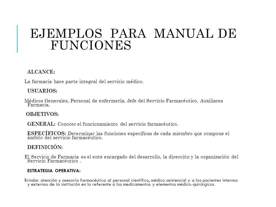 EJEMPLOS PARA MANUAL DE FUNCIONES (FARMACIA) ALCANCE: La farmacia hace parte integral del servicio médico. USUARIOS: Médicos Generales, Personal de en