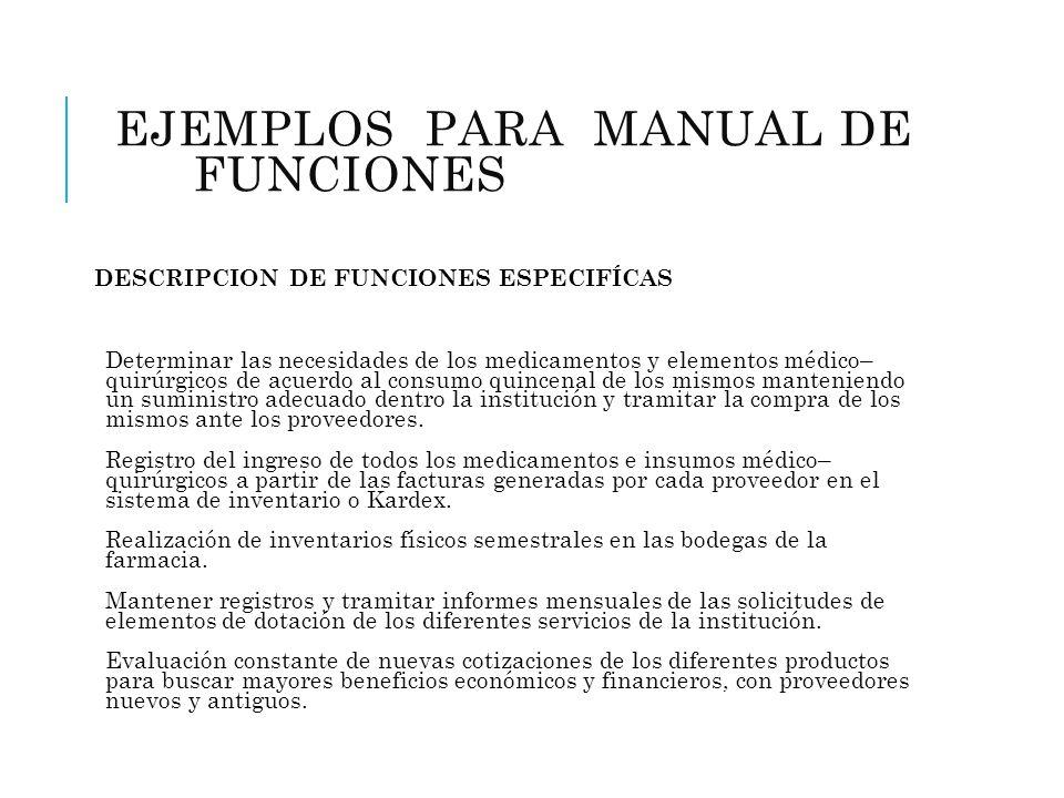 EJEMPLOS PARA MANUAL DE FUNCIONES (FARMACIA) DESCRIPCION DE FUNCIONES ESPECIFÍCAS Determinar las necesidades de los medicamentos y elementos médico– q