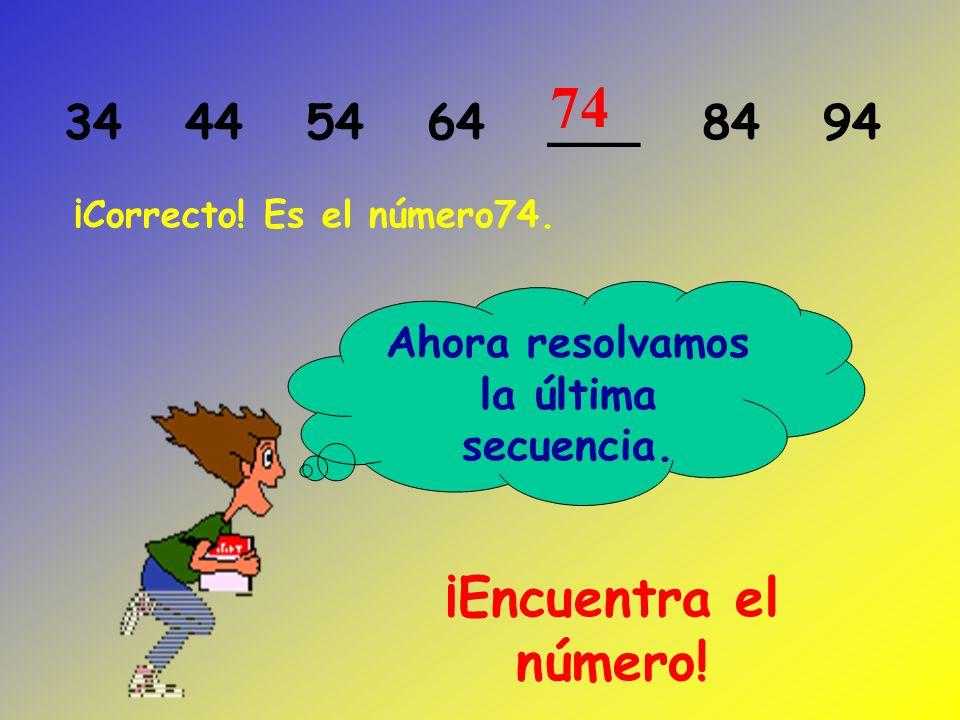 ¡Encuentra el número! ¡Corecto! Es el número 55. 25 35 45 ___ 65 7555