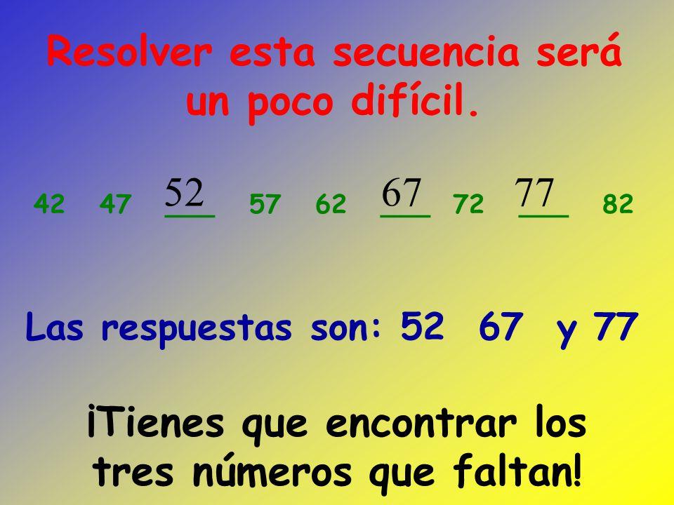 34 44 54 64 ___ 84 94 Ahora resolvamos la última secuencia.