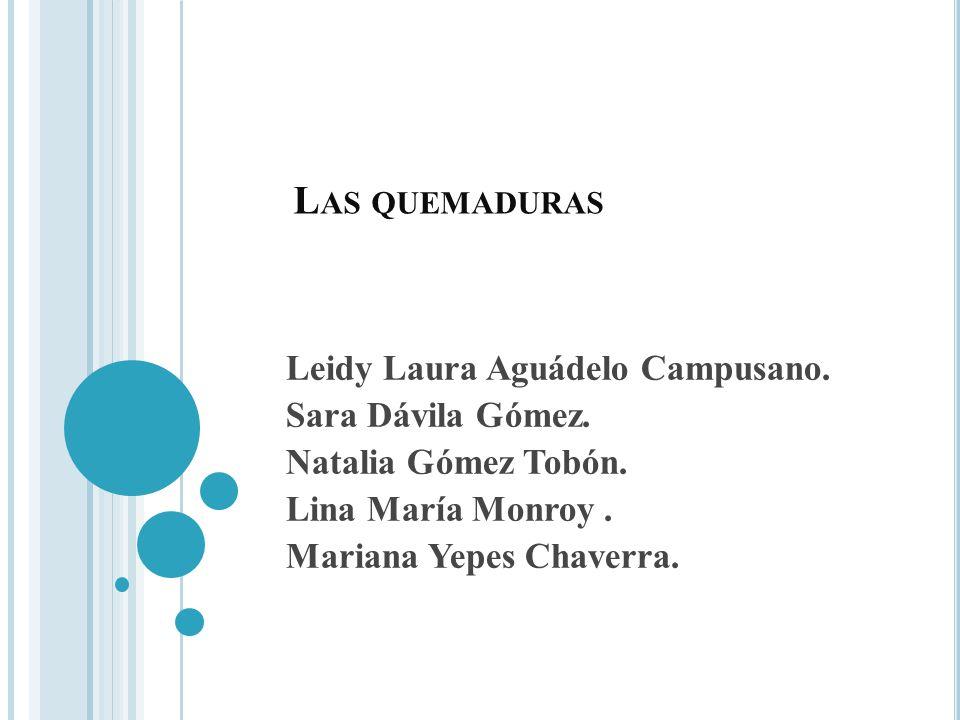 L AS QUEMADURAS Leidy Laura Aguádelo Campusano. Sara Dávila Gómez. Natalia Gómez Tobón. Lina María Monroy. Mariana Yepes Chaverra.