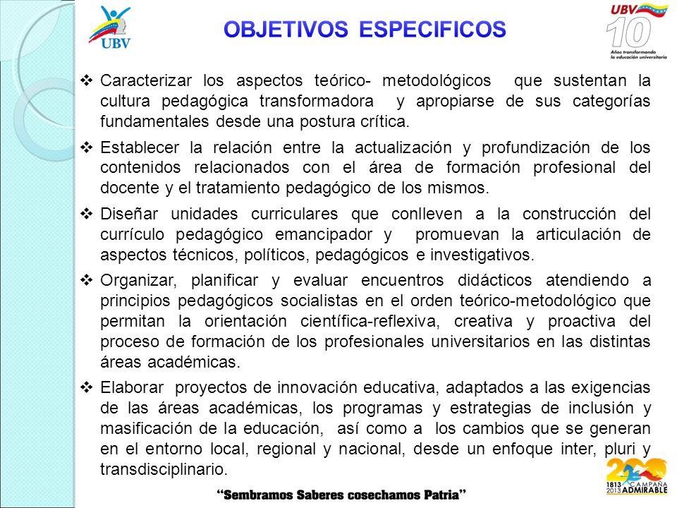  Caracterizar los aspectos teórico- metodológicos que sustentan la cultura pedagógica transformadora y apropiarse de sus categorías fundamentales desde una postura crítica.