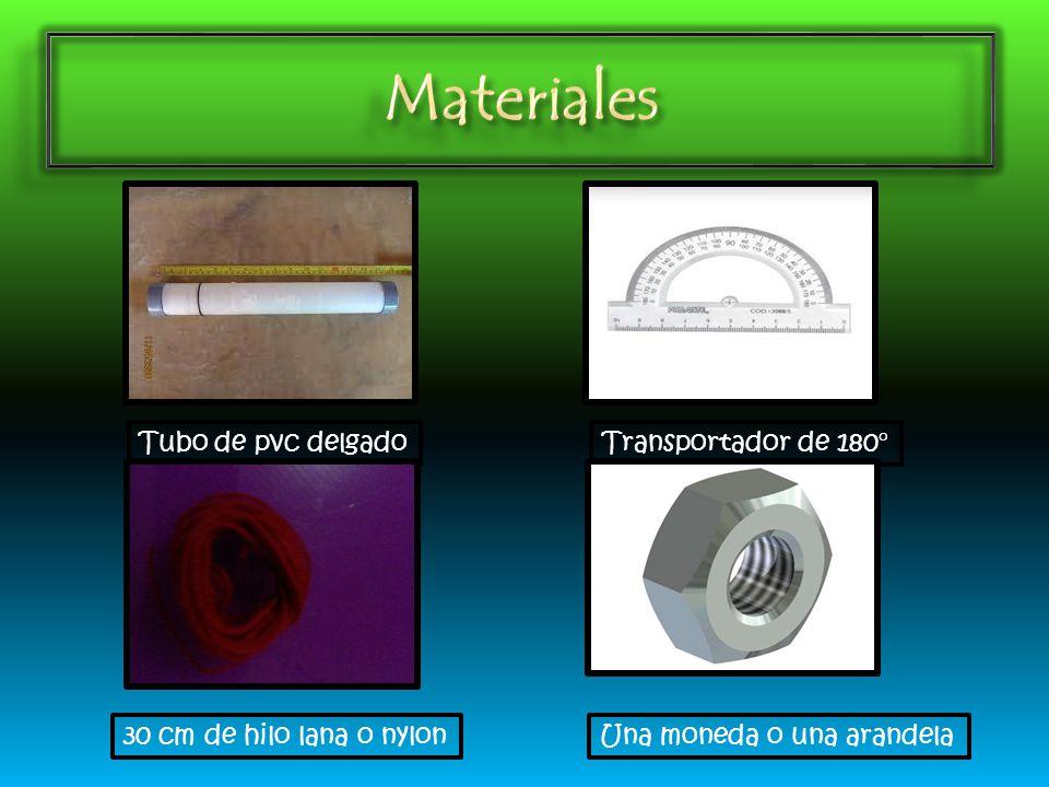 Tubo de pvc delgadoTransportador de 180° 30 cm de hilo lana o nylonUna moneda o una arandela
