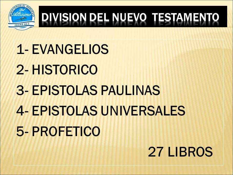 1- EVANGELIOS 2- HISTORICO 3- EPISTOLAS PAULINAS 4- EPISTOLAS UNIVERSALES 5- PROFETICO 27 LIBROS