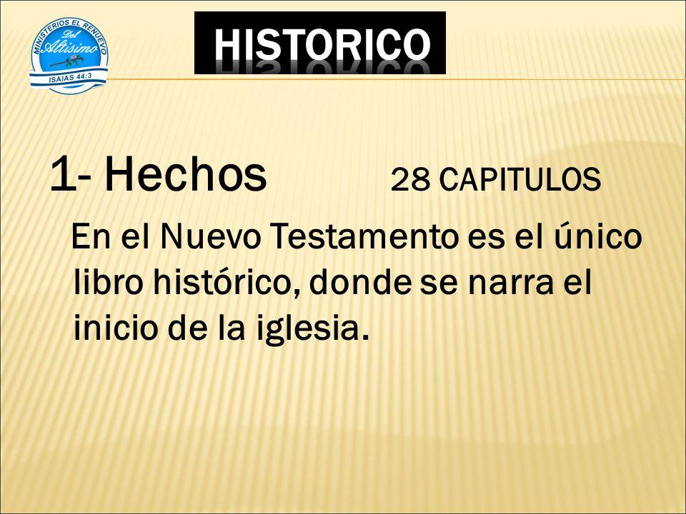 1- Hechos 28 CAPITULOS En el Nuevo Testamento es el único libro histórico, donde se narra el inicio de la iglesia.