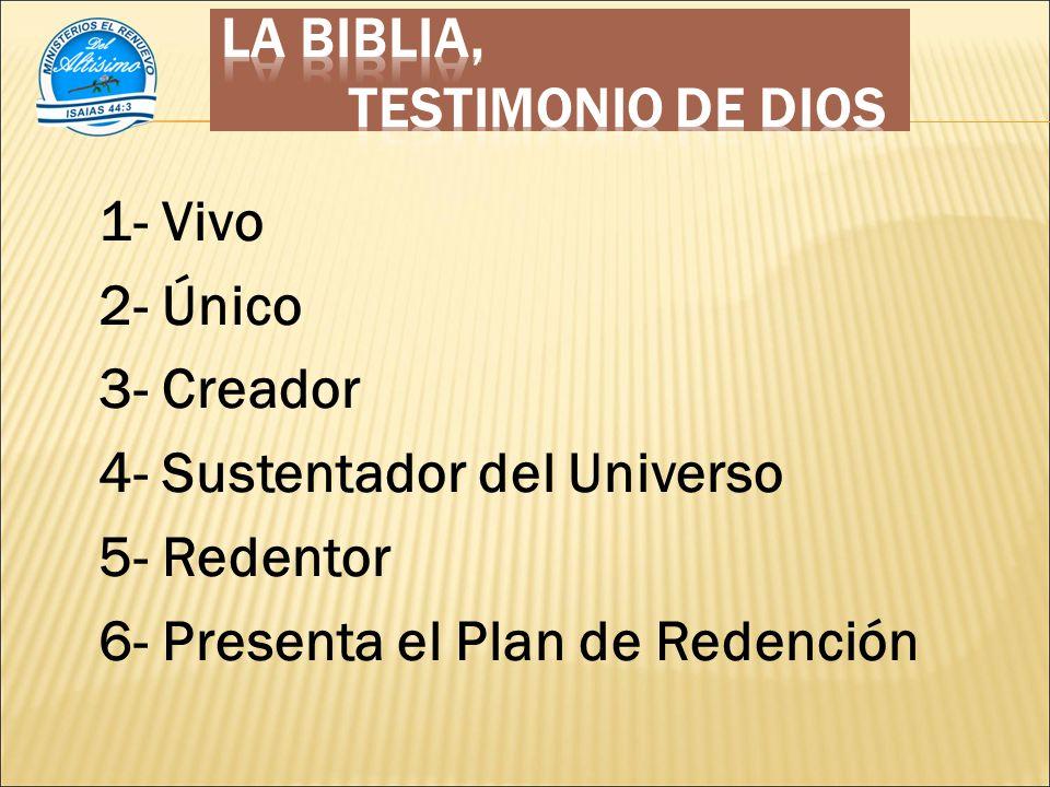 1- Vivo 2- Único 3- Creador 4- Sustentador del Universo 5- Redentor 6- Presenta el Plan de Redención