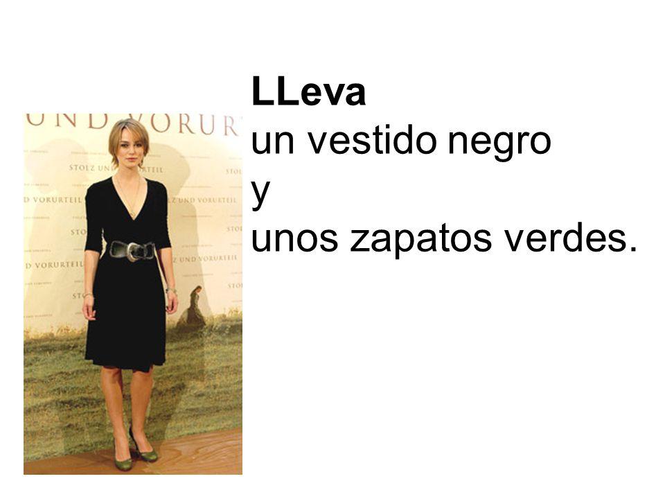 LLeva un vestido negro y unos zapatos verdes.