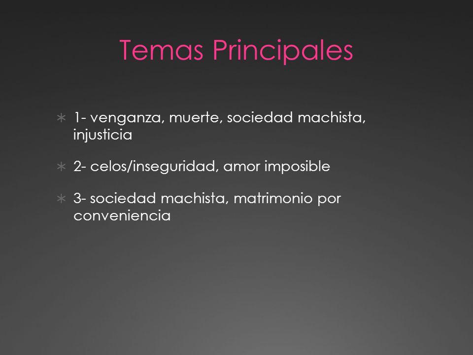 Temas Principales  1, venganza, muerte, sociedad machista, injusticia  2,