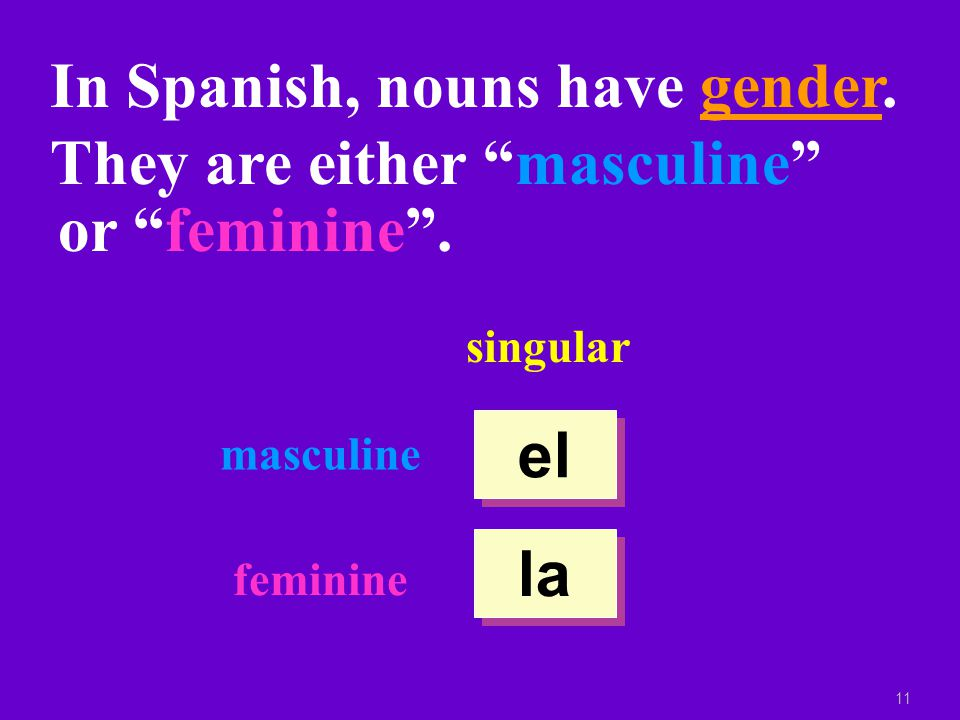 10 The words the in English and el , la , los , and las in Spanish are referred to as the definite article.