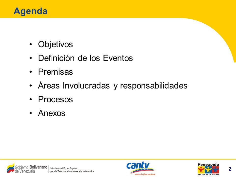 2 Compañía Anónima Nacional Teléfonos de Venezuela (NYSE:VNT) 2 Agenda Objetivos Definición de los Eventos Premisas Áreas Involucradas y responsabilid