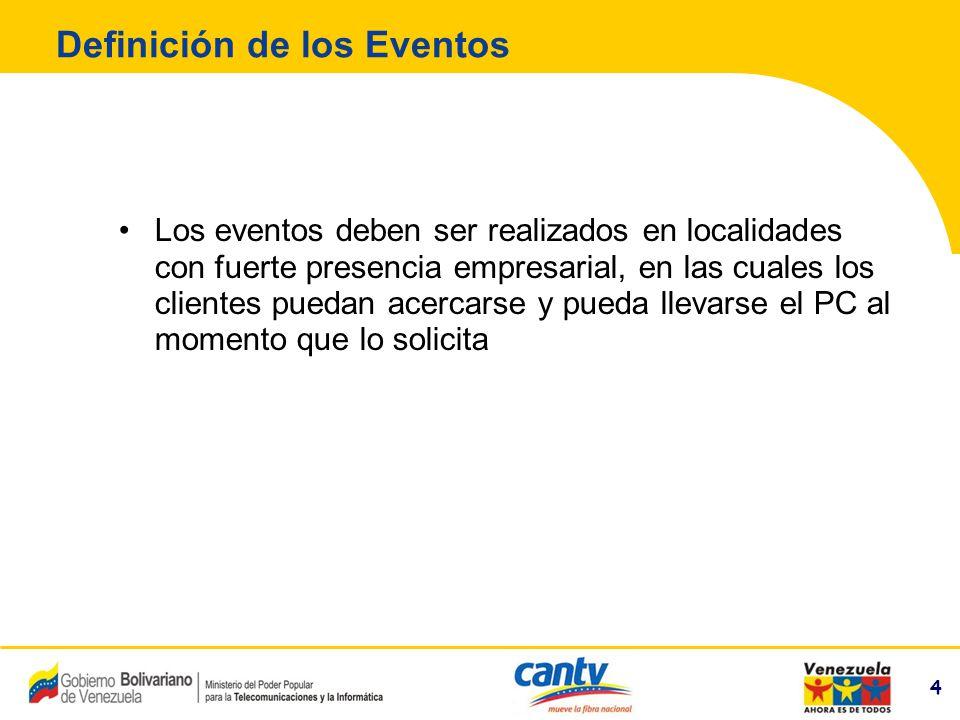 4 Compañía Anónima Nacional Teléfonos de Venezuela (NYSE:VNT) 4 Definición de los Eventos Los eventos deben ser realizados en localidades con fuerte p