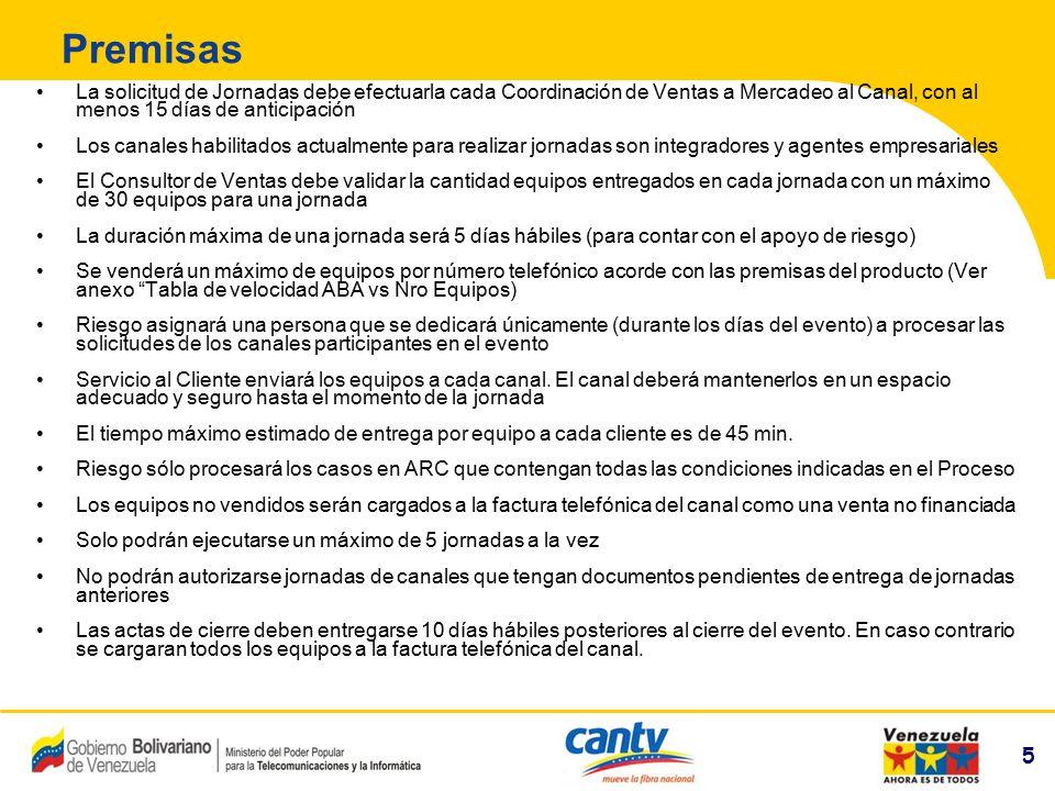 6 Compañía Anónima Nacional Teléfonos de Venezuela (NYSE:VNT) 6 Áreas Involucradas y Responsabilidades Canal Realizar la solicitud de los equipos a través de la carta compromiso (debidamente firmada) y enviar a su Consultor de Ventas Almacenar los equipos en un lugar seguro Suministrar toda la información del producto al cliente Validar la disponibilidad ABA del cliente en BOSS y en caso de disponer crear orden ABA.