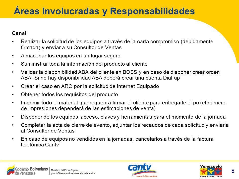 6 Compañía Anónima Nacional Teléfonos de Venezuela (NYSE:VNT) 6 Áreas Involucradas y Responsabilidades Canal Realizar la solicitud de los equipos a tr