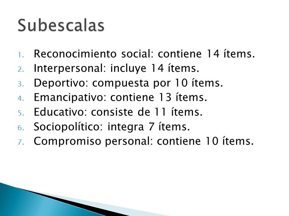 1. Reconocimiento social: contiene 14 ítems. 2. Interpersonal: incluye 14 ítems.
