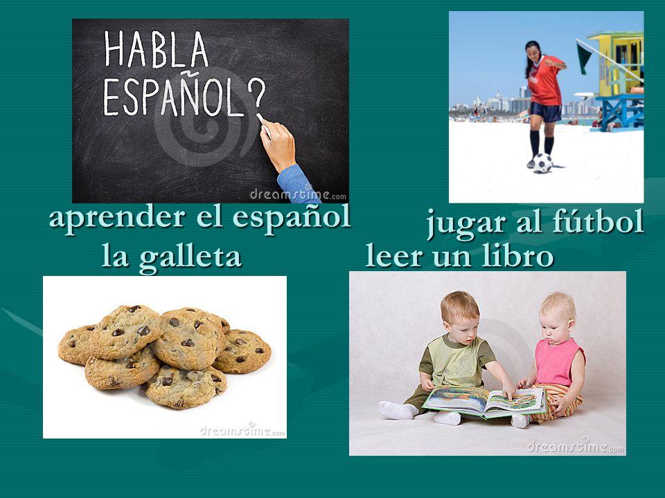 aprender el español leer un libro la galleta jugar al fútbol