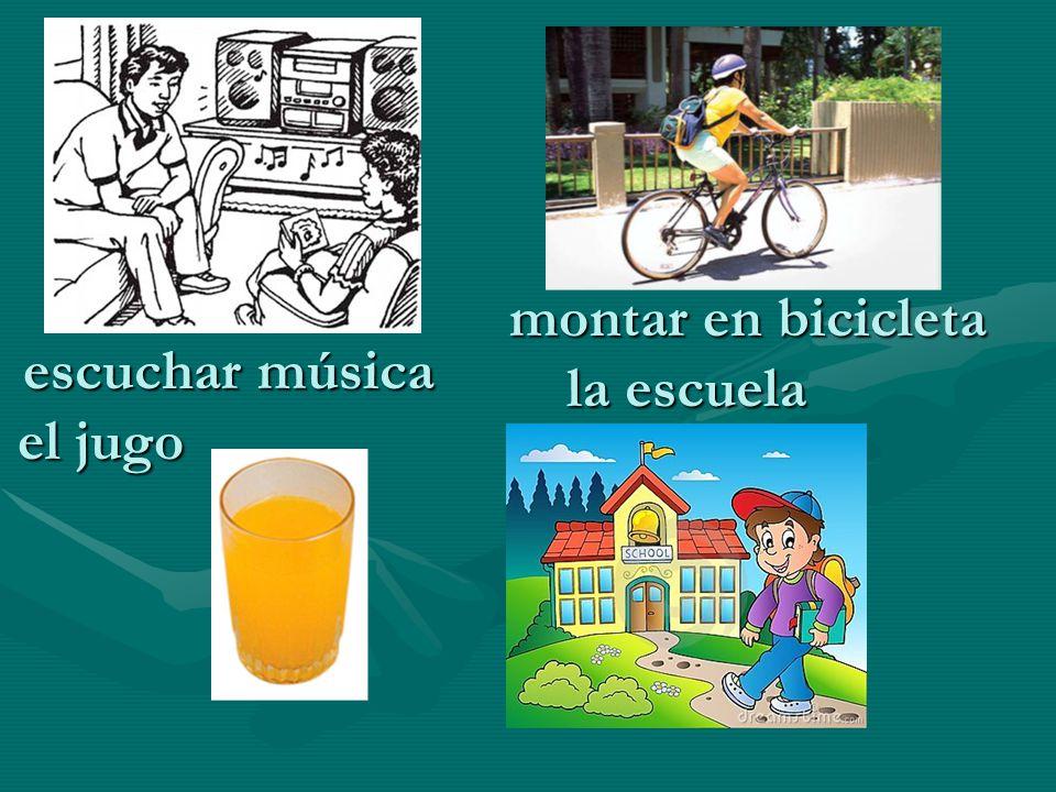 escuchar música montar en bicicleta el jugo la escuela
