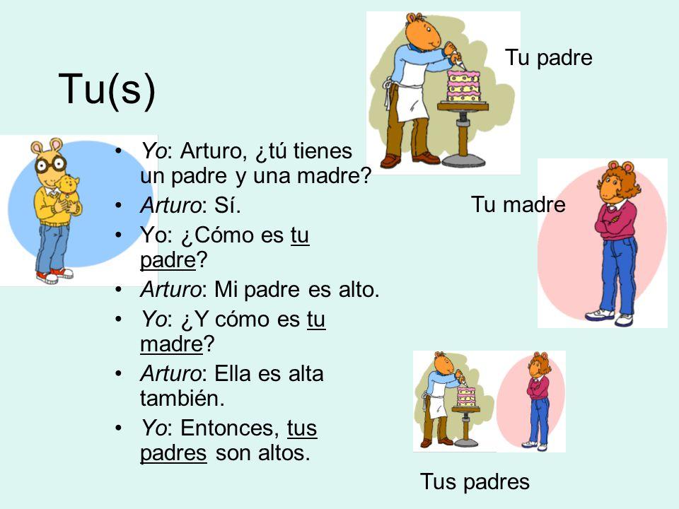 Tu(s) Tu padre Tu madre Tus padres Yo: Arturo, ¿tú tienes un padre y una madre.
