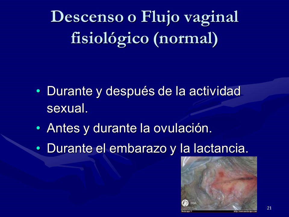 21 Descenso o Flujo vaginal fisiológico (normal) Durante y después de la actividad sexual.Durante y después de la actividad sexual.