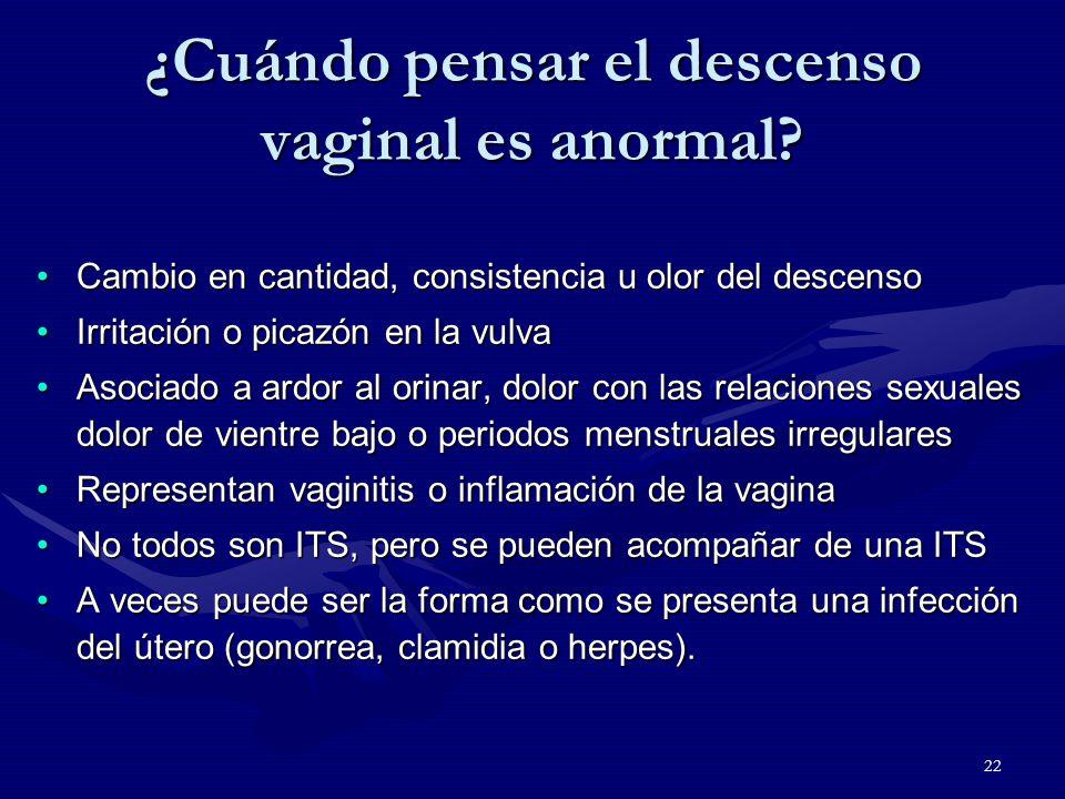 22 ¿Cuándo pensar el descenso vaginal es anormal.