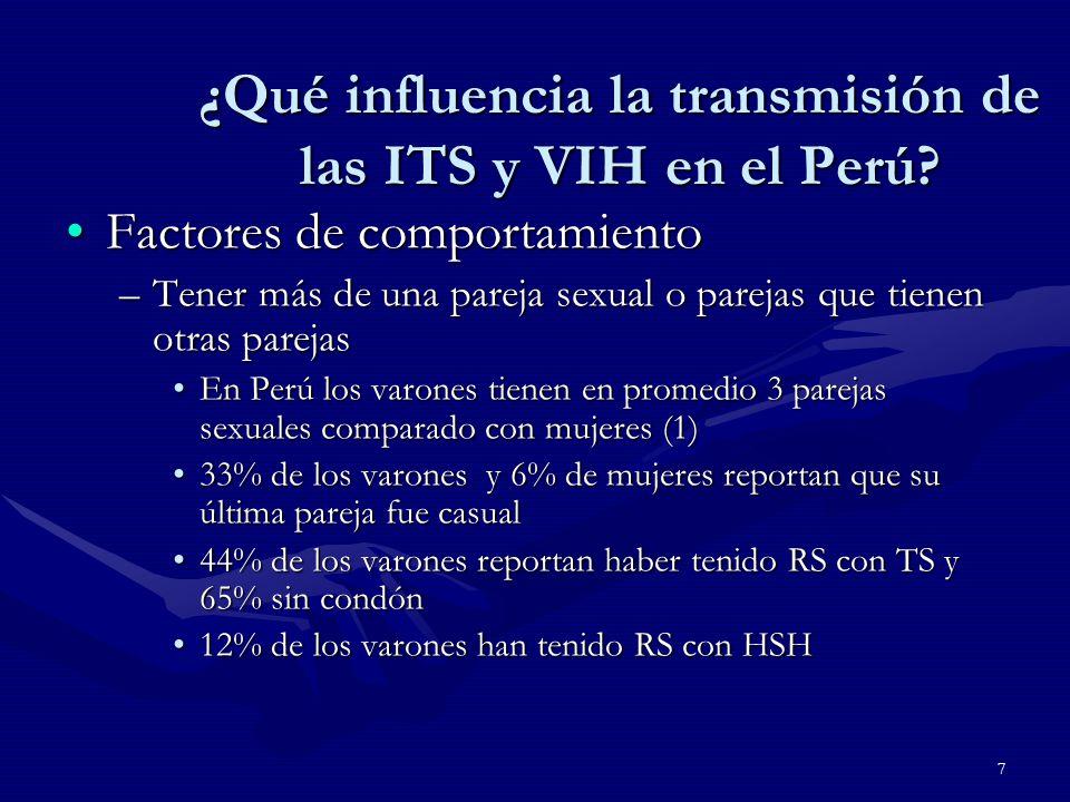 7 ¿Qué influencia la transmisión de las ITS y VIH en el Perú.