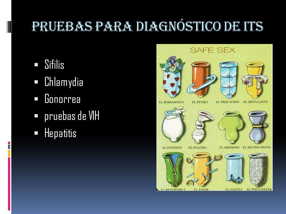 Pruebas para diagnóstico de ITS  Sífilis  Chlamydia  Gonorrea  pruebas de VIH  Hepatitis