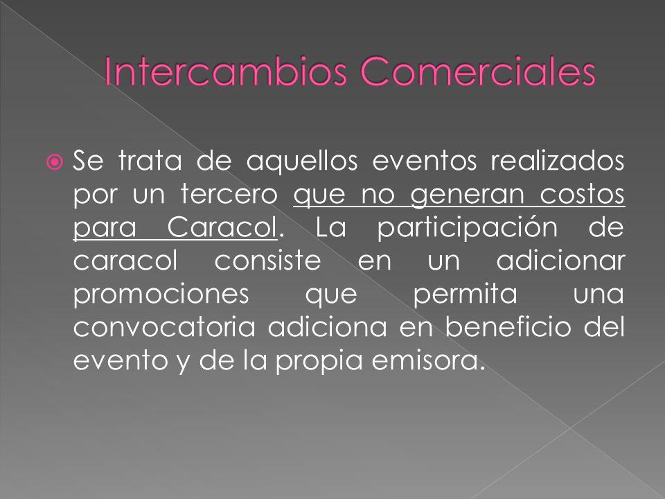  Se trata de aquellos eventos realizados por un tercero que no generan costos para Caracol.