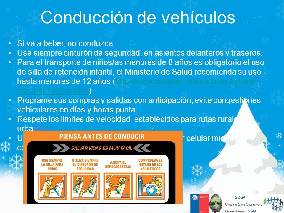 Conducción de vehículos Si va a beber, no conduzca. Use siempre cinturón de seguridad, en asientos delanteros y traseros. Para el transporte de niños/