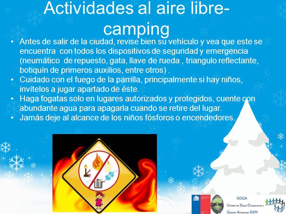 Actividades al aire libre- camping Antes de salir de la ciudad, revise bien su vehículo y vea que este se encuentra con todos los dispositivos de segu