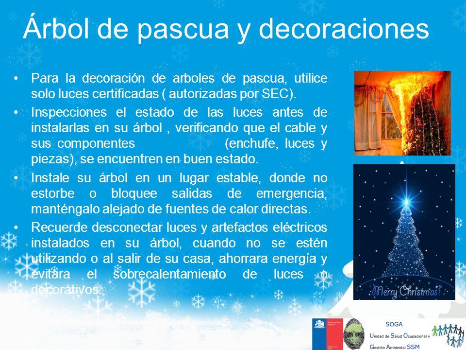 Para la decoración de arboles de pascua, utilice solo luces certificadas ( autorizadas por SEC). Inspecciones el estado de las luces antes de instalar