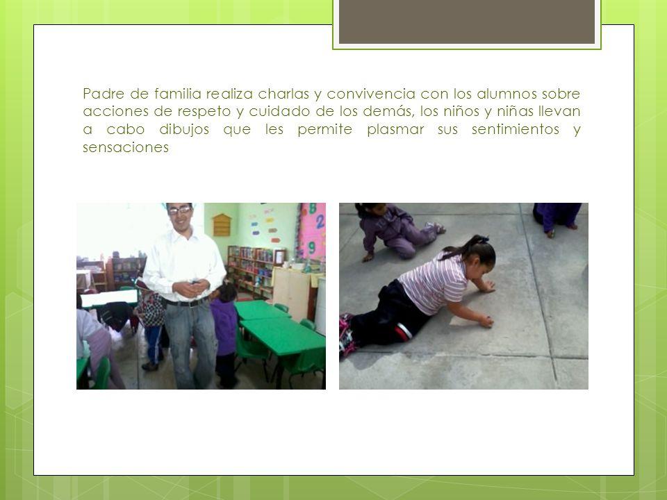 Padre de familia realiza charlas y convivencia con los alumnos sobre acciones de respeto y cuidado de los demás, los niños y niñas llevan a cabo dibuj
