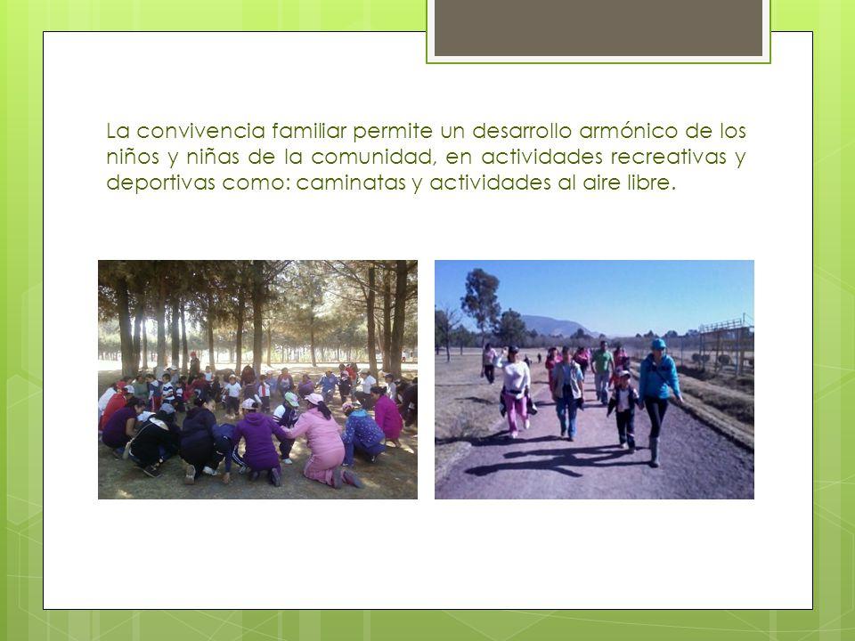 La convivencia familiar permite un desarrollo armónico de los niños y niñas de la comunidad, en actividades recreativas y deportivas como: caminatas y
