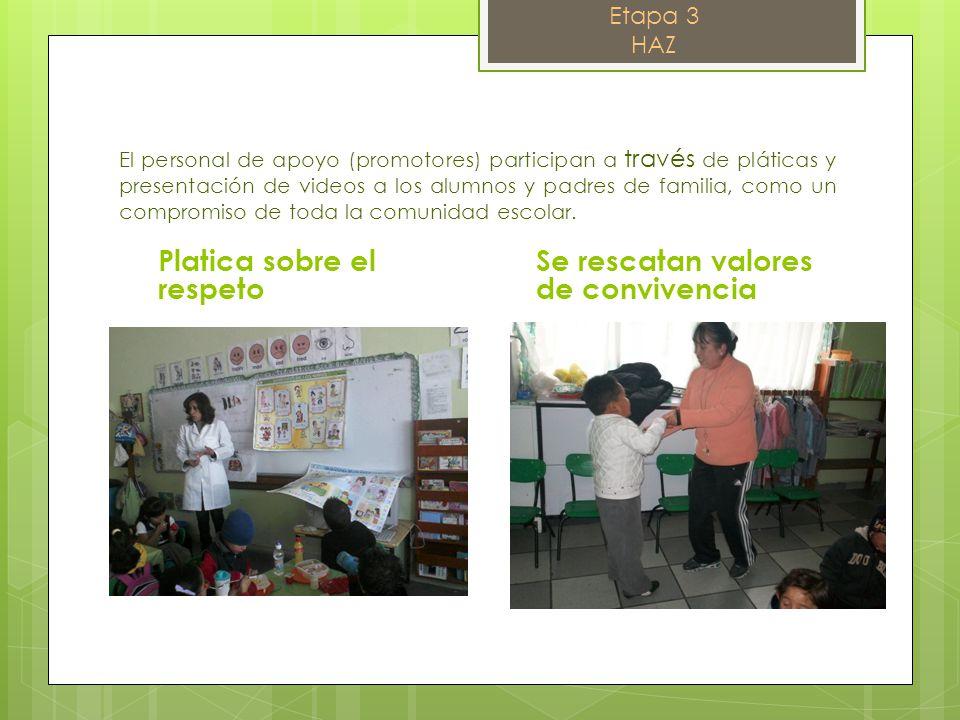 El personal de apoyo (promotores) participan a través de pláticas y presentación de videos a los alumnos y padres de familia, como un compromiso de to