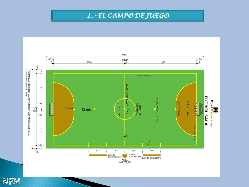 1.- EL CAMPO DE JUEGO 6 mts 12 mts